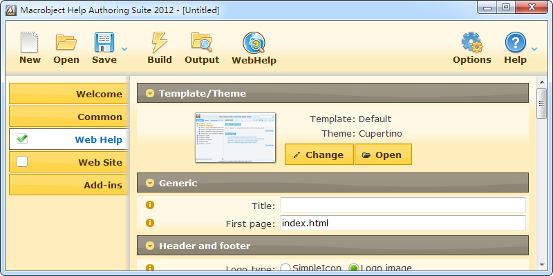 WebHelp Authoring Suite 2012 software screenshot