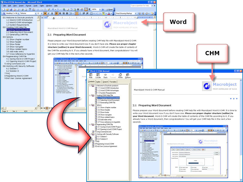 Click to view Macrobject Word-2-CHM Converter 2007 2007.13.912.651 screenshot